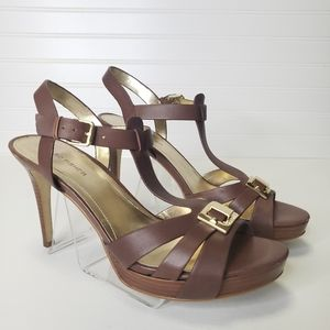 Marc Fisher Leather Strappy High Heel Sandals 10